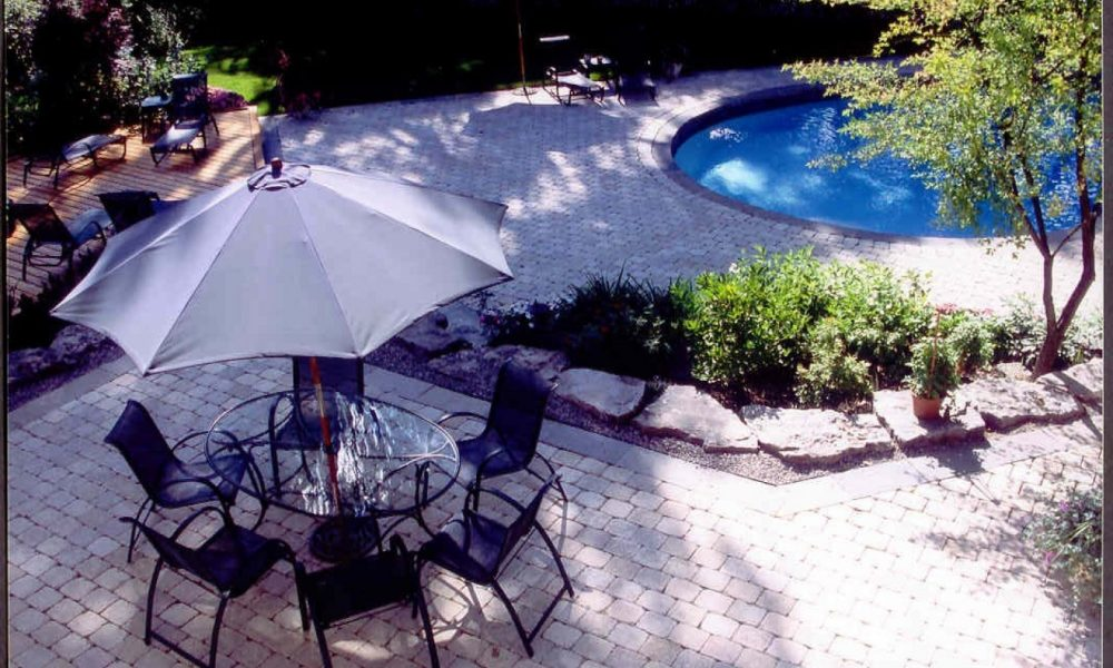 patio and pool in oakville backyard