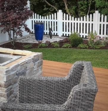 Backyard deck with resin chair